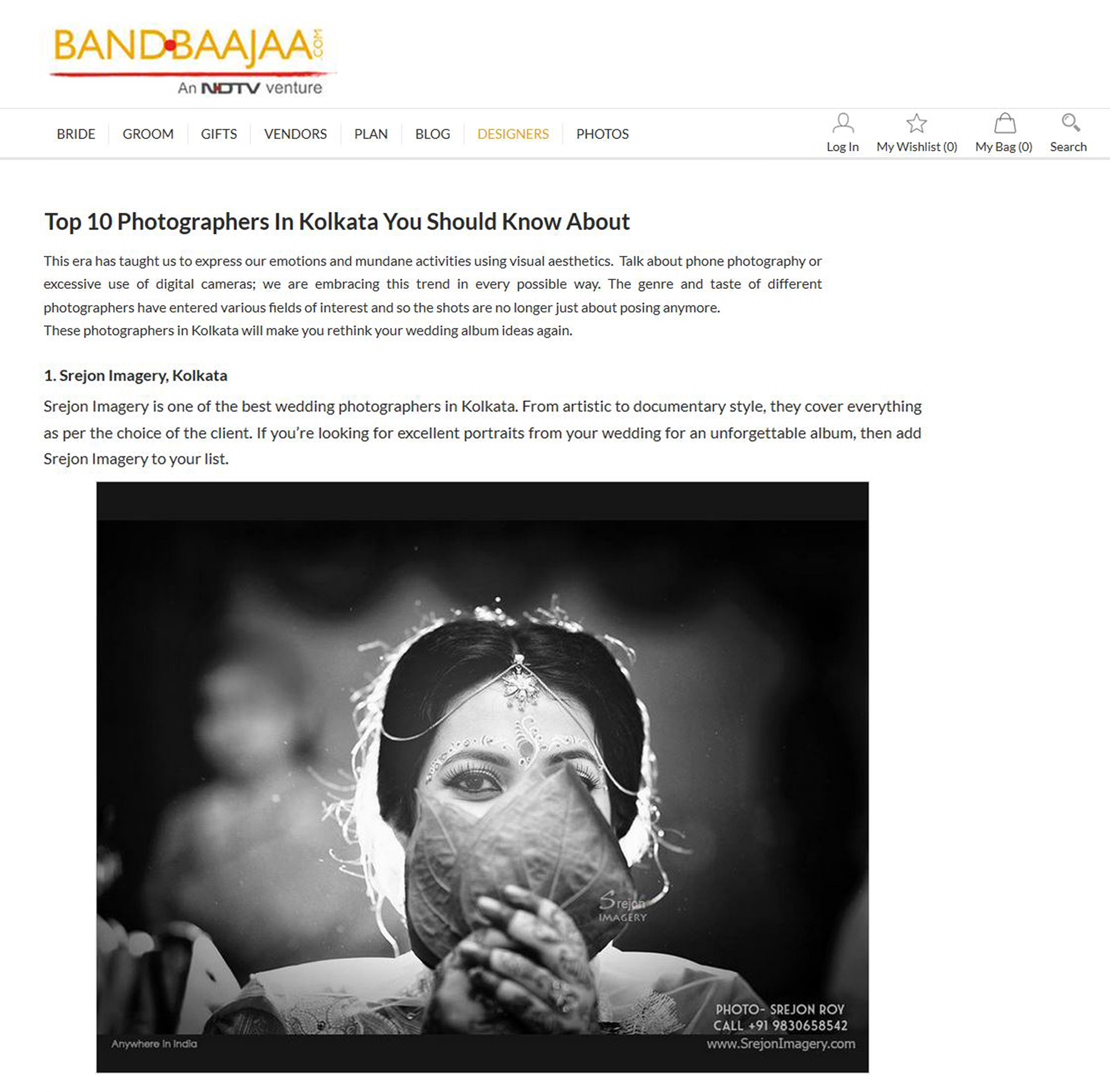 Top Wedding Photographer in Kolkata by NDTV's BandBaajaa