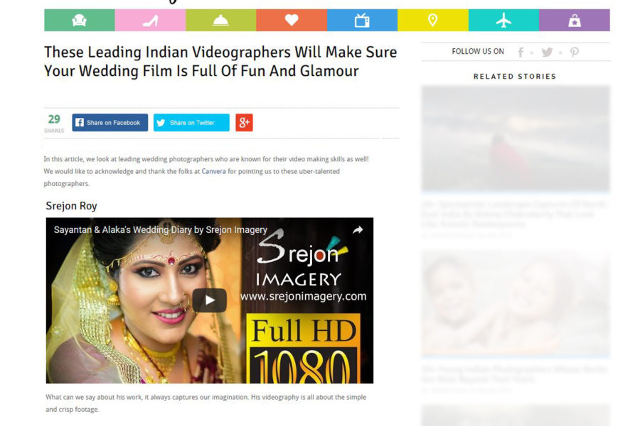 Srejon Imagery featured in PolkaCafe.com as Indian Leading Videographer